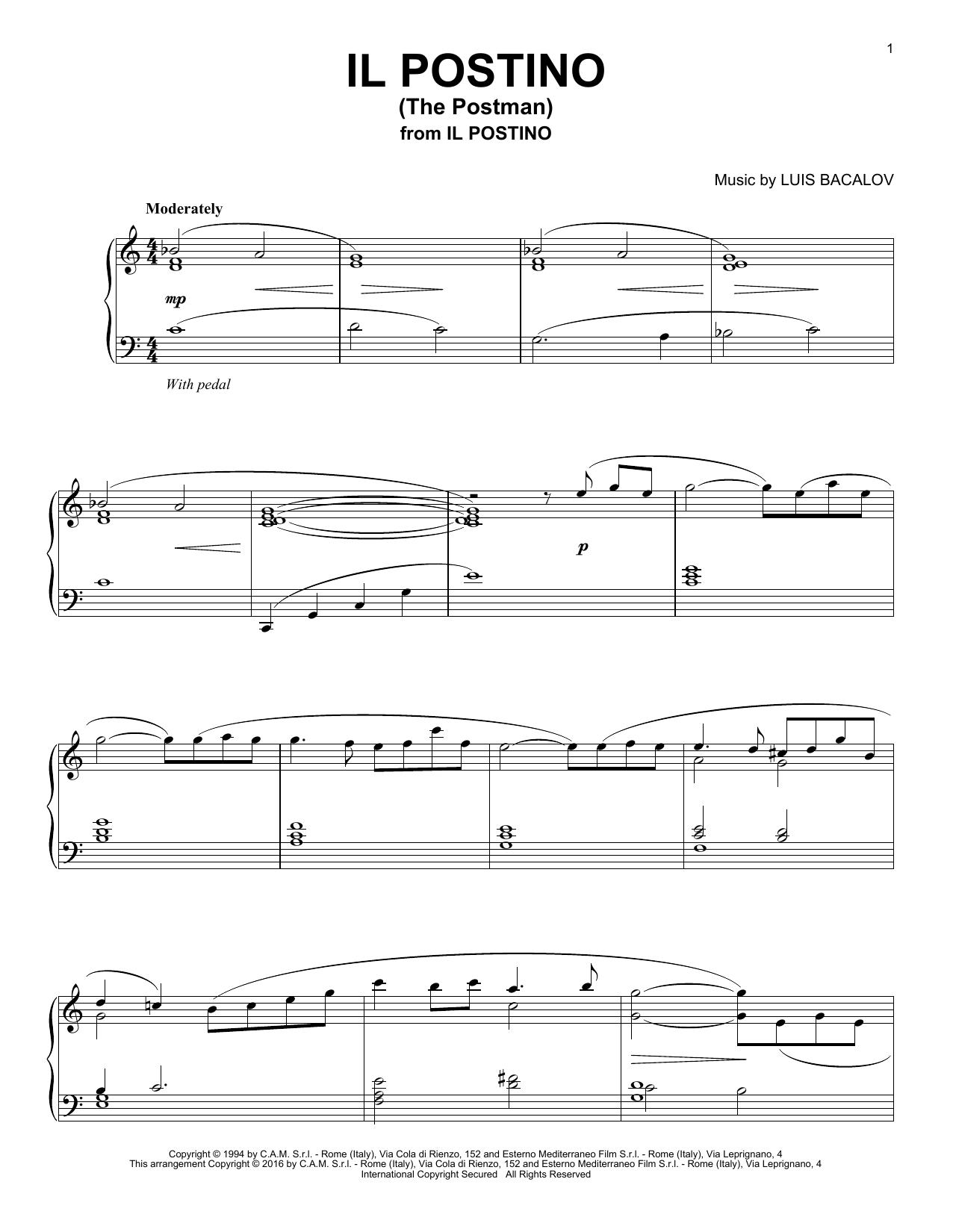 Partition piano Il Postino (The Postman) de Luis Bacalov - Piano Solo
