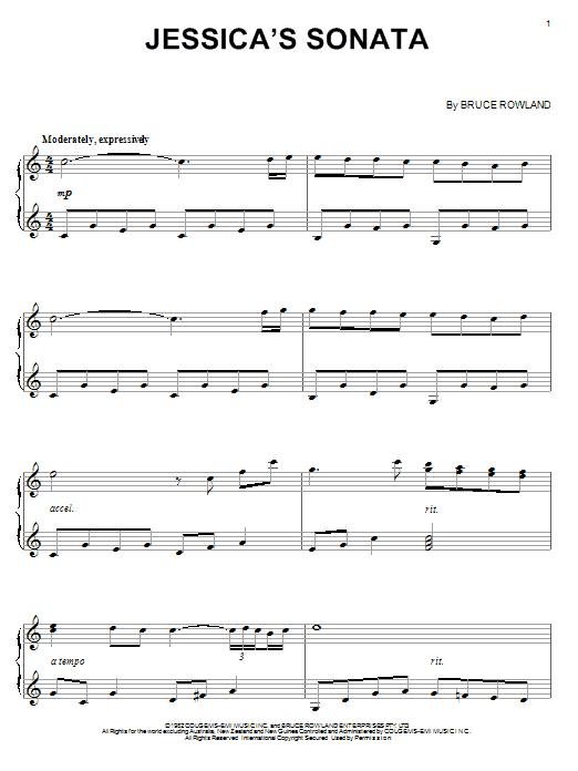 Partition piano Jessica's Sonata de Bruce Rowland - Piano Solo