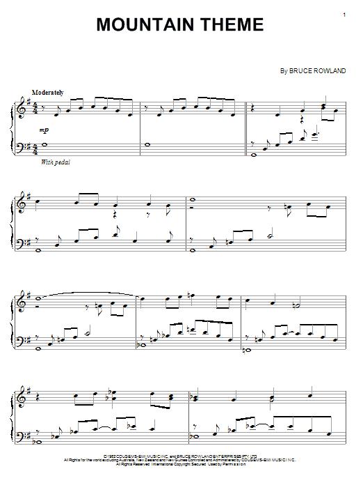 Partition piano Mountain Theme de Bruce Rowland - Piano Solo