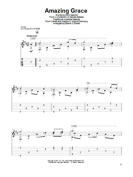 Tablature guitare Amazing Grace de John Newton - Tablature Guitare