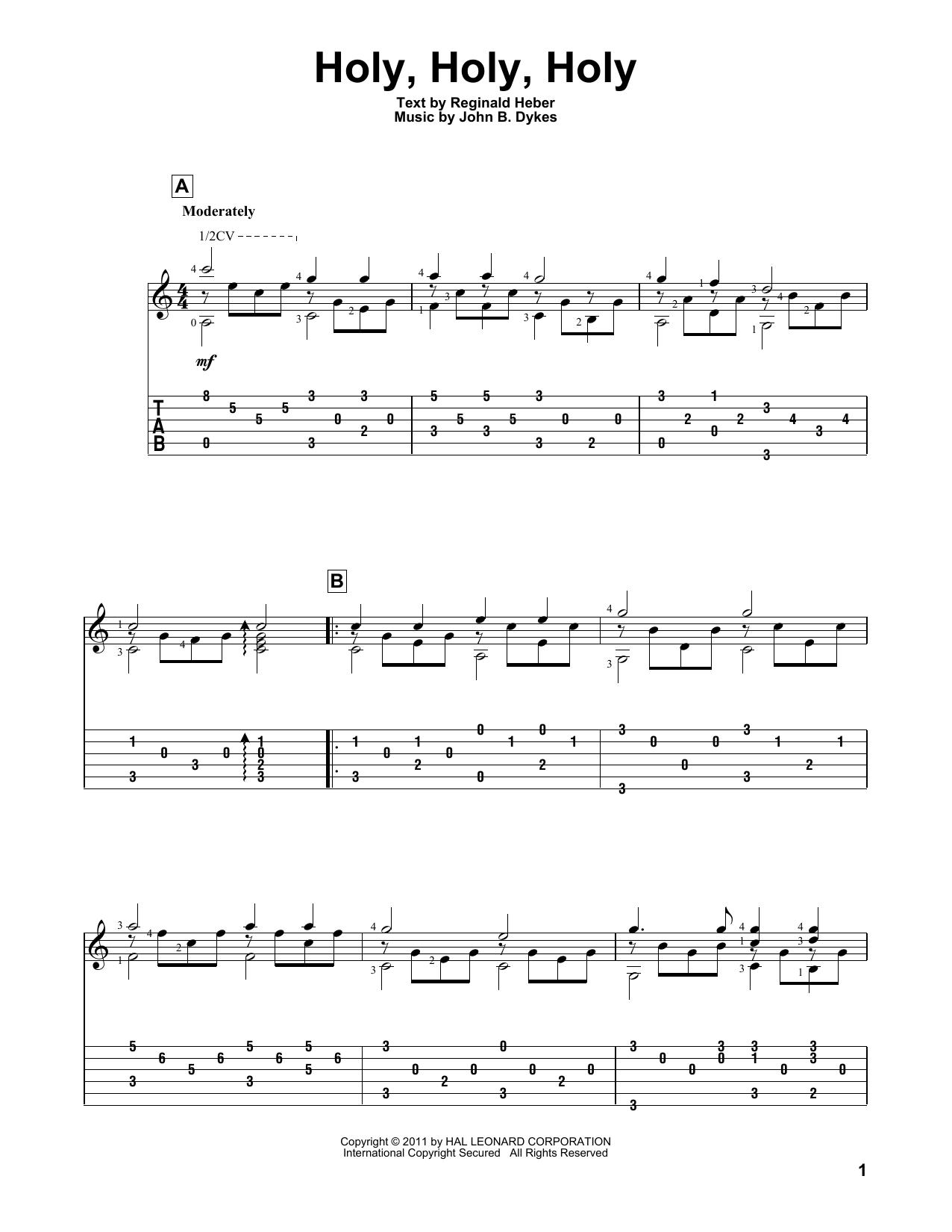 Tablature guitare Holy, Holy, Holy de Reginald Heber - Tablature Guitare