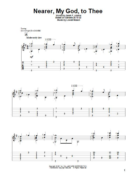 Tablature guitare Nearer, My God, To Thee de Sarah F. Adams - Tablature Guitare