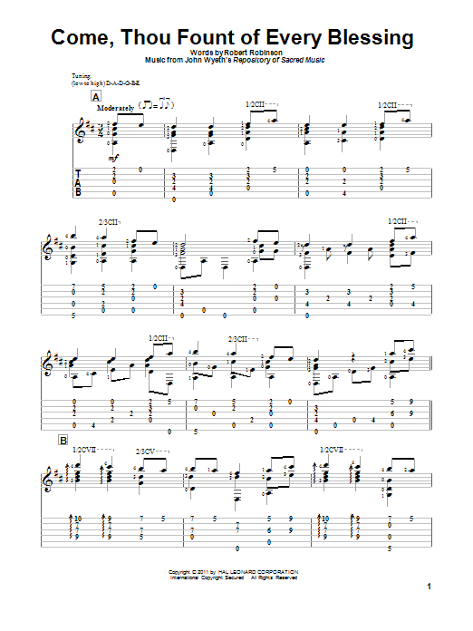 Tablature guitare Come, Thou Fount Of Every Blessing de Robert Robinson - Tablature Guitare