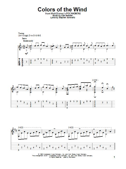 Tablature guitare Colors Of The Wind de Vanessa Williams - Tablature Guitare