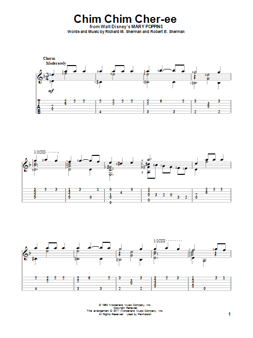 Chim Chim Cher-ee sheet music for guitar solo by Robert B. Sherman