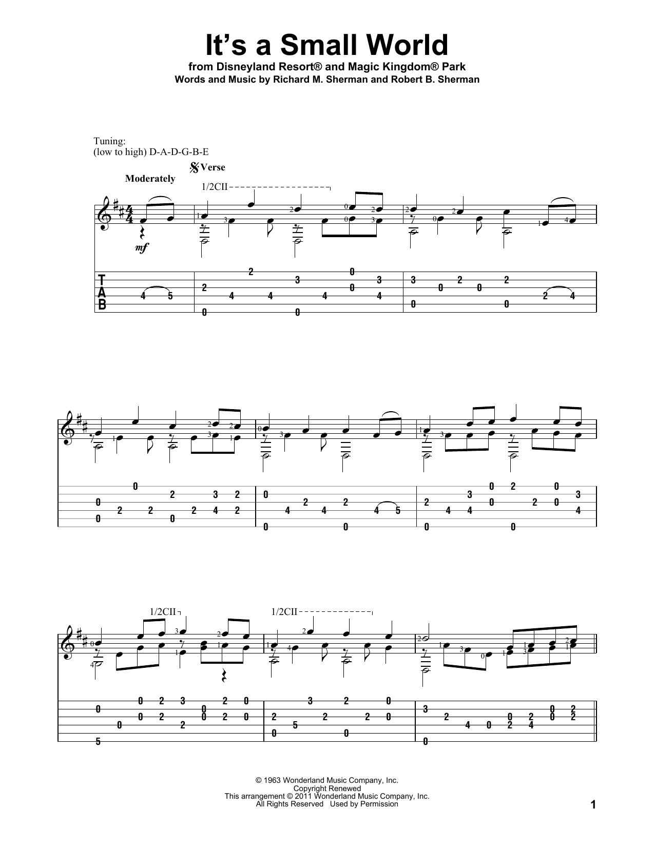 Tablature guitare It's A Small World de Sherman Brothers - Tablature Guitare
