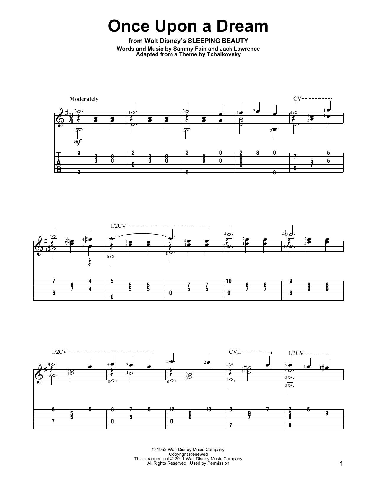 Tablature guitare Once Upon A Dream de Sammy Fain - Tablature Guitare