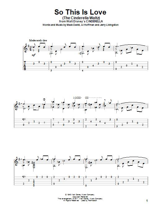 Tablature guitare So This Is Love (The Cinderella Waltz) de Mack David - Tablature Guitare