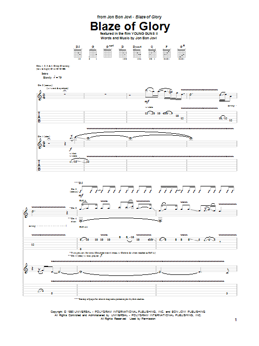Tablature guitare Blaze Of Glory de Jon Bon Jovi - Tablature Guitare