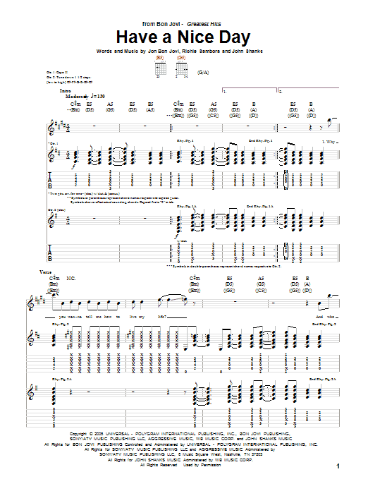 Tablature guitare Have A Nice Day de Bon Jovi - Tablature Guitare