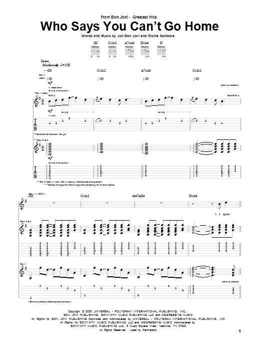 Tablature guitare Who Says You Can't Go Home de Bon Jovi with Jennifer Nettles - Tablature Guitare