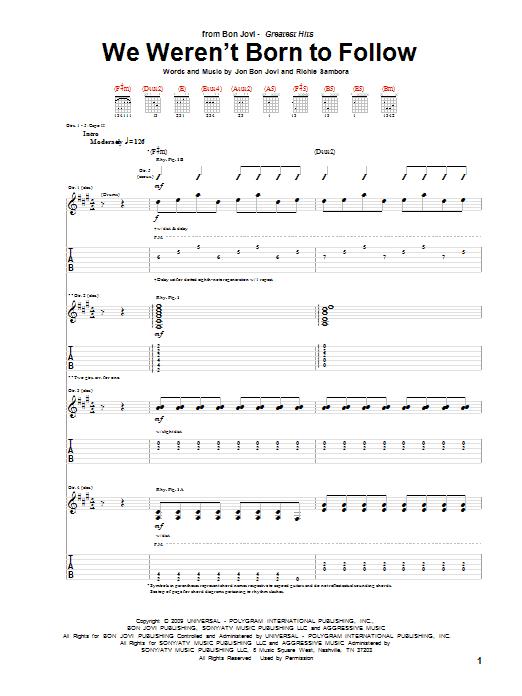 Tablature guitare We Weren't Born To Follow de Bon Jovi - Tablature Guitare