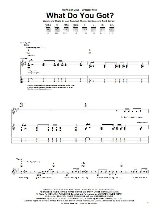 Tablature guitare What Do You Got? de Bon Jovi - Tablature Guitare