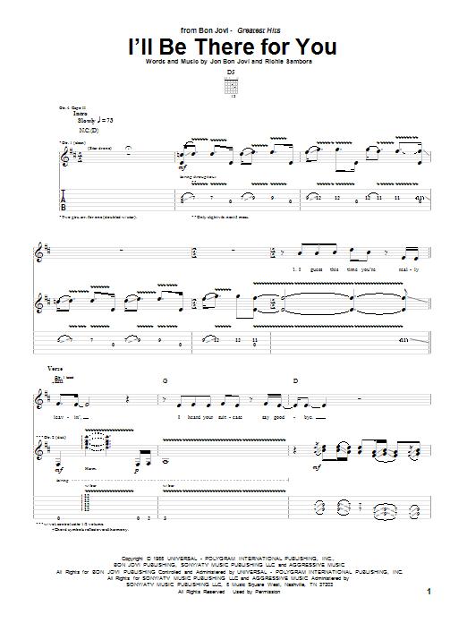 Tablature guitare I'll Be There For You de Bon Jovi - Tablature Guitare