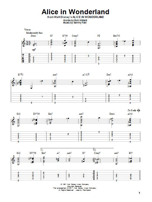 Tablature guitare Alice In Wonderland de Bill Evans - Tablature Guitare