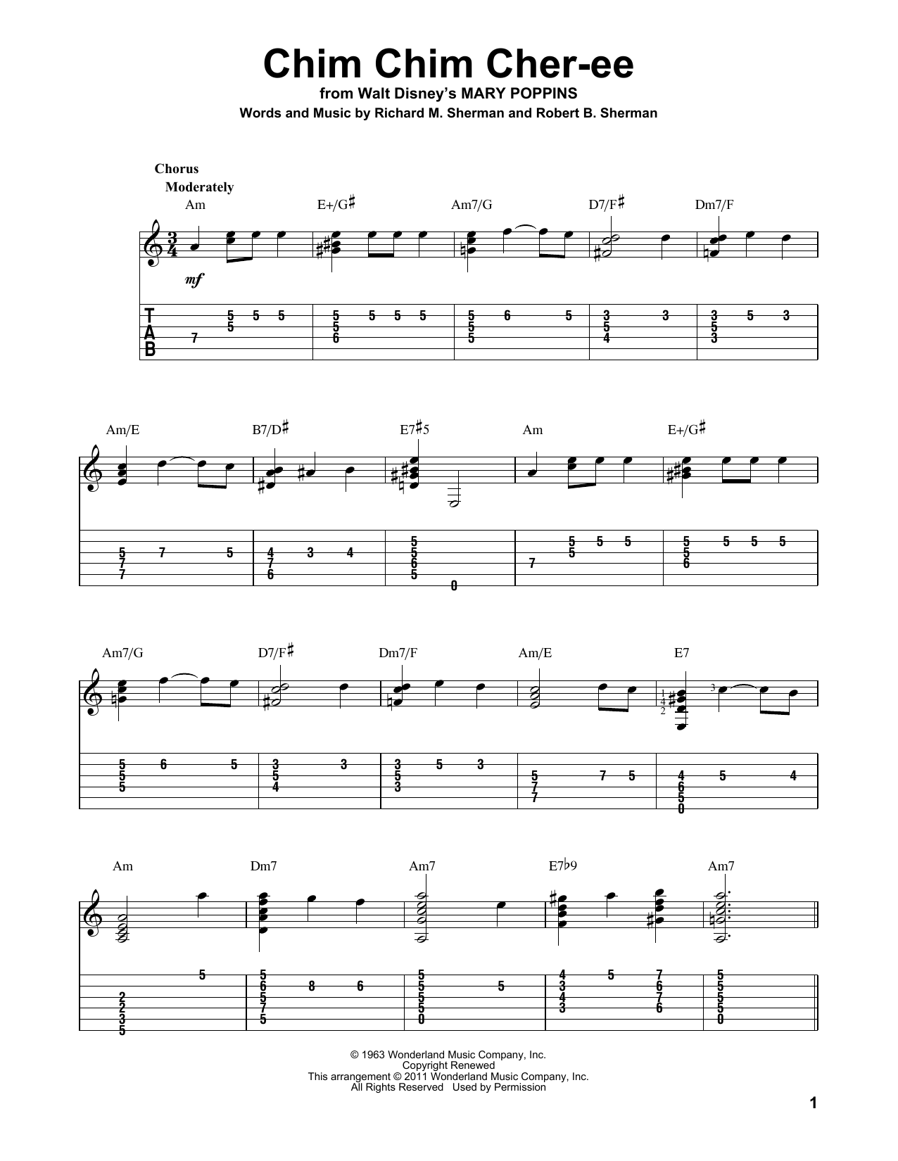 Tablature guitare Chim Chim Cher-ee de Sherman Brothers - Tablature Guitare