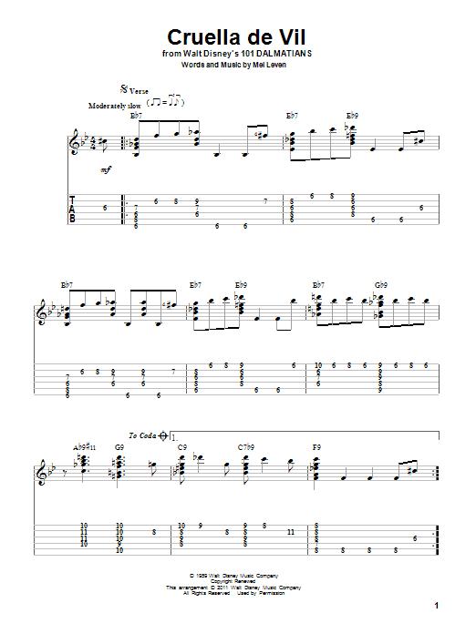 Tablature guitare Cruella De Vil de Mel Leven - Tablature Guitare