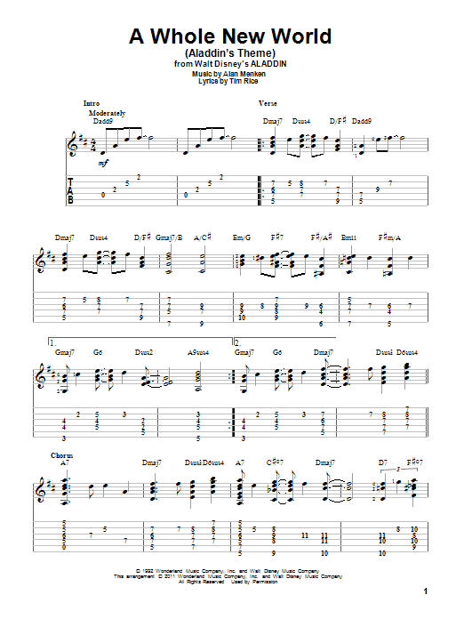A Whole New World (Aladdin's Theme) sheet music for guitar solo by Tim Rice