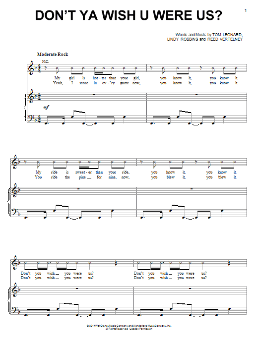 Don't Ya Wish U Were Us? sheet music for voice, piano or guitar by Tom Leonard