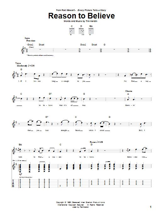 Tablature guitare Reason To Believe de Rod Stewart - Tablature Guitare