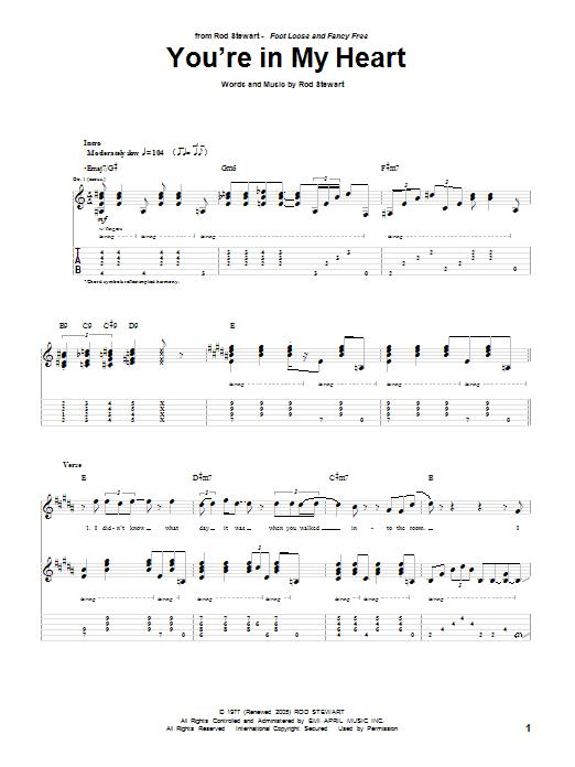 Tablature guitare You're In My Heart de Rod Stewart - Tablature Guitare