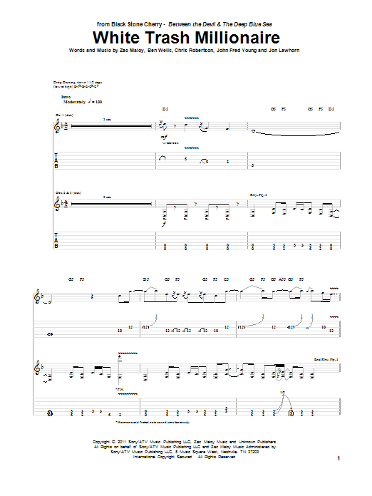 Tablature guitare White Trash Millionaire de Black Stone Cherry - Tablature Guitare