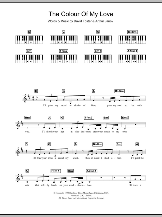 The Colour Of My Love sheet music for piano solo (chords, lyrics, melody) by Arthur Janov