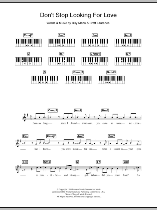 Don't Stop Looking For Love sheet music for piano solo (chords, lyrics, melody) by Brett Laurence