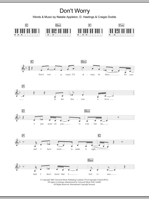 Don't Worry sheet music for piano solo (chords, lyrics, melody) by D. Hastings