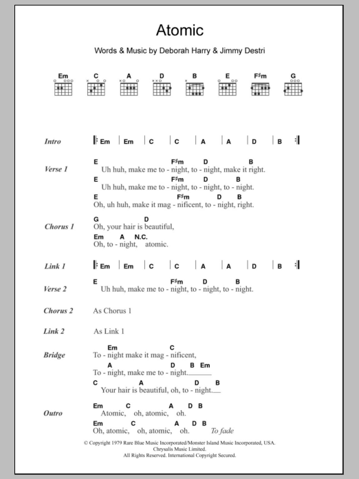 Atomic sheet music for guitar solo (chords, lyrics, melody) by Jimmy Destri
