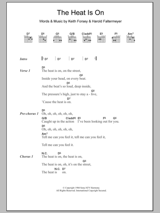 The Heat Is On sheet music for guitar solo (chords, lyrics, melody) by Keith Forsey