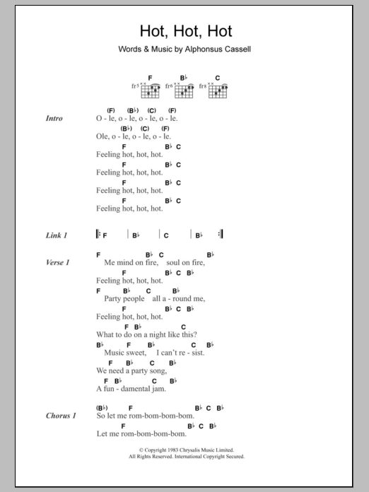 Hot Hot Hot sheet music for guitar solo (chords, lyrics, melody) by Alphonsus Cassell