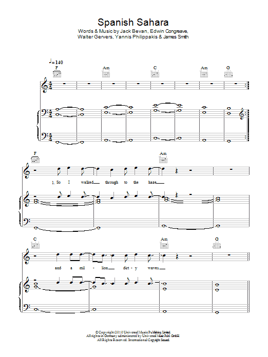 Spanish Sahara sheet music for voice, piano or guitar by Yannis Philippakis