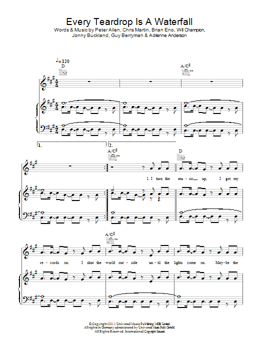 Every Teardrop Is A Waterfall sheet music for voice, piano or guitar by Will Champion