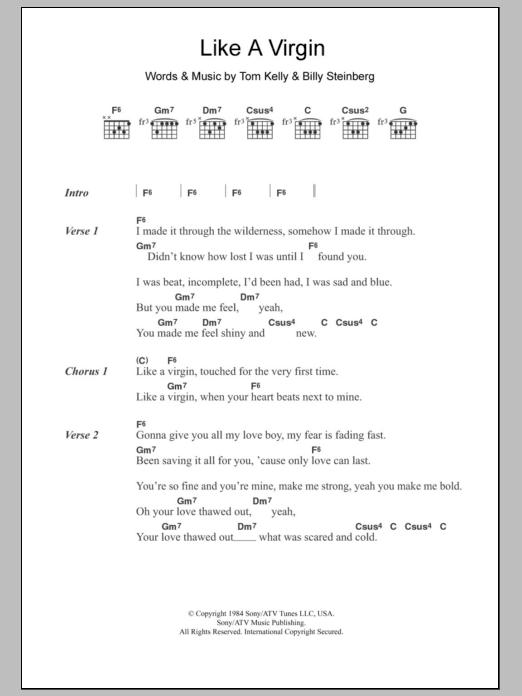 Madonna Lyrics - Like A Virgin