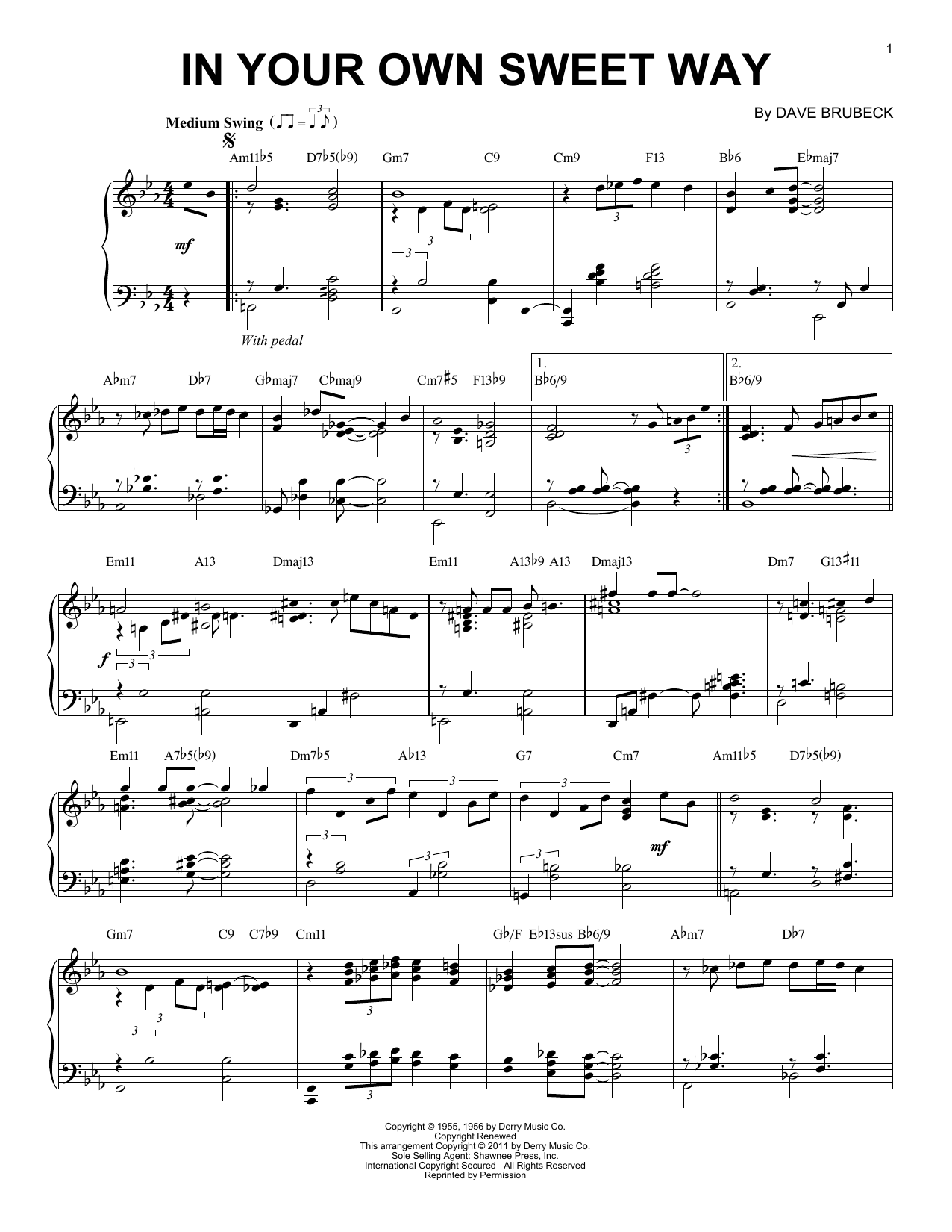 In Your Own Sweet Way sheet music for piano solo by Dave Brubeck