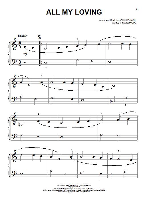 Partition piano All My Loving de The Beatles - Piano Facile
