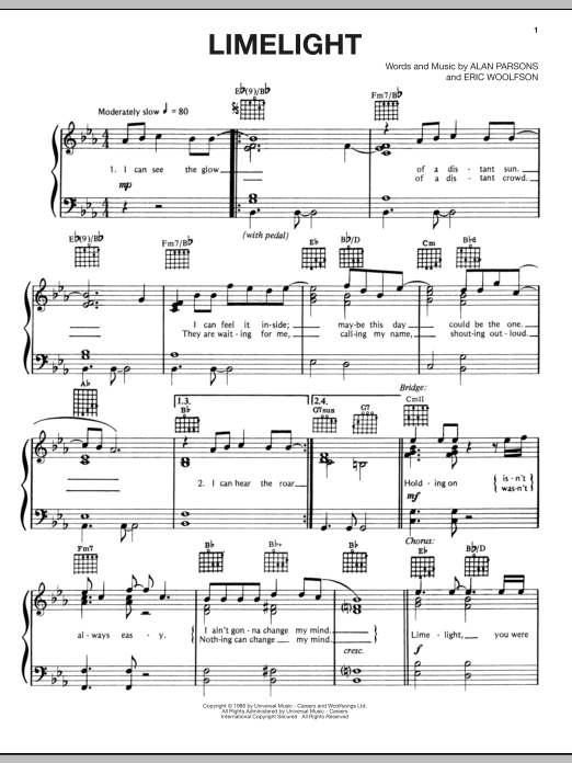 Partition piano Limelight de Alan Parsons Project - Piano Voix Guitare (Mélodie Main Droite)