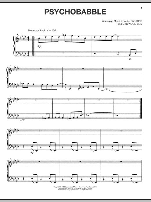Partition piano Psychobabble de Alan Parsons Project - Piano Voix Guitare (Mélodie Main Droite)