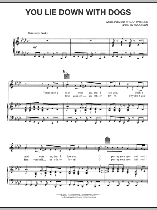Partition piano You Lie Down With Dogs de Alan Parsons Project - Piano Voix Guitare (Mélodie Main Droite)