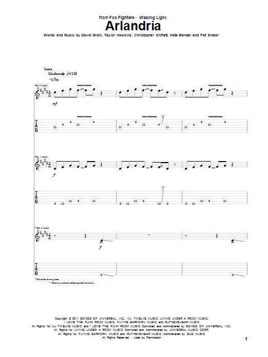Tablature guitare Arlandria de Foo Fighters - Tablature Guitare