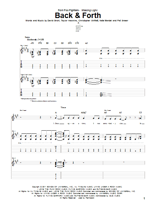 Tablature guitare Back & Forth de Foo Fighters - Tablature Guitare