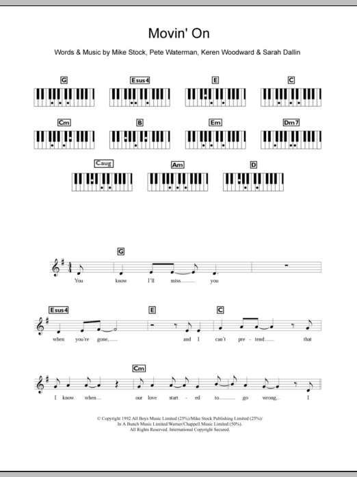 Movin' On sheet music for piano solo (chords, lyrics, melody) by Sarah Dallin