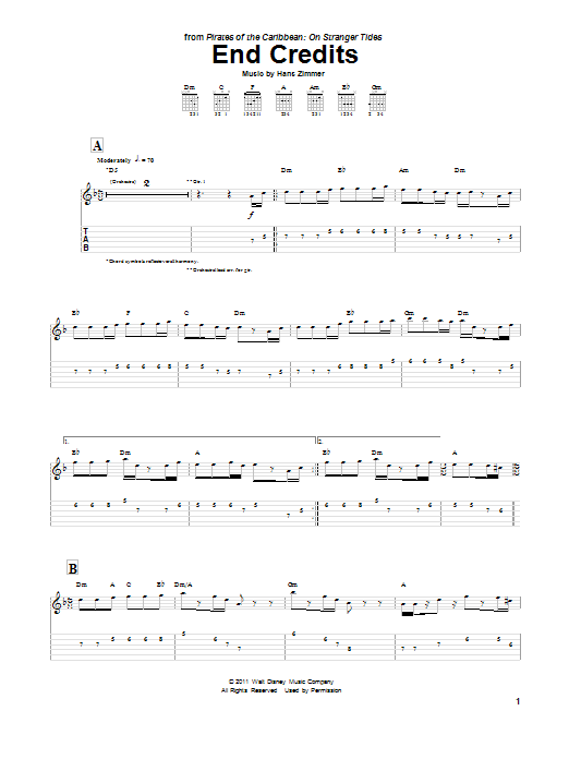 Tablature guitare End Credits de Hans Zimmer - Tablature Guitare