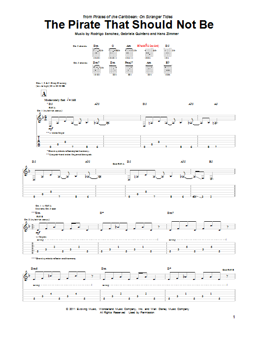 Tablature guitare The Pirate That Should Not Be de Hans Zimmer - Tablature Guitare