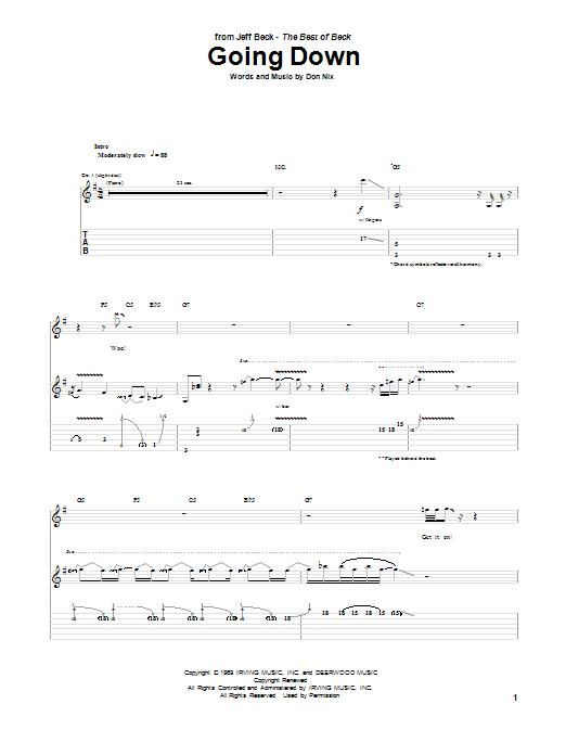 Tablature guitare Going Down de Jeff Beck - Tablature Guitare