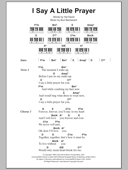 Sheet Music Digital Files To Print - Licensed Burt Bacharach Digital ...