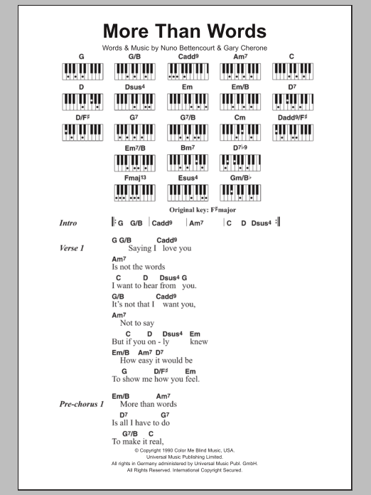 More Than Words sheet music for piano solo (chords, lyrics, melody) by Nuno Bettencourt
