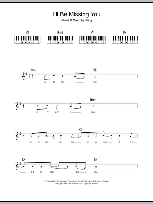 I'll Be Missing You sheet music for piano solo (chords, lyrics, melody) by Sting