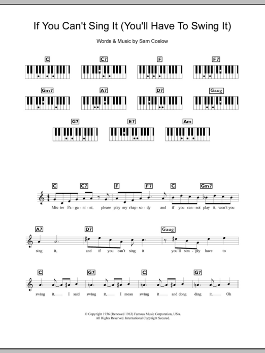If You Can't Sing It (You'll Have To Swing It) sheet music for piano solo (chords, lyrics, melody) by Sam Coslow